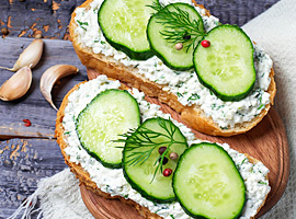 Cottage cheese and cucumber on toast