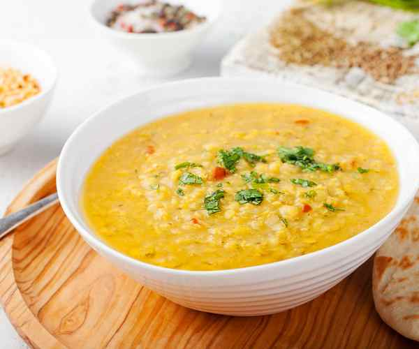 Photo of - Curried Lentil Soup with Havarti