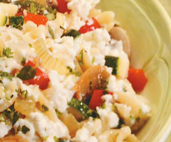 Photo of - Herbed Cottage Cheese Primavera with Pasta