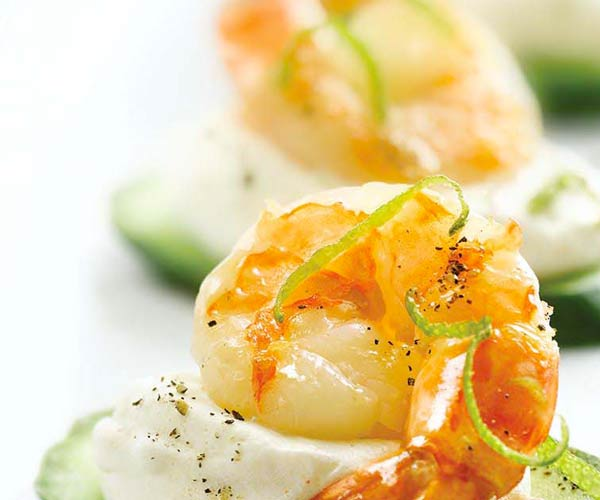 Photo of - Jumbo Shrimp Canapés with Chili Lime Cream