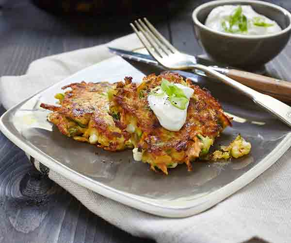 Photo of - Rainbow Veggie Pancakes with Cottage Cheese
