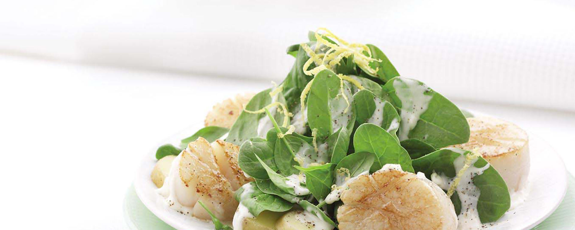 Photo for - Seared Scallops with Baby Spinach and Potatoes