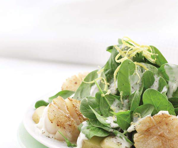 Photo of - Seared Scallops with Baby Spinach and Potatoes