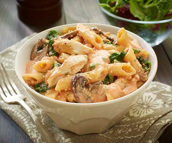 Photo of - Chicken Penne Rosé with Spinach and Mushrooms
