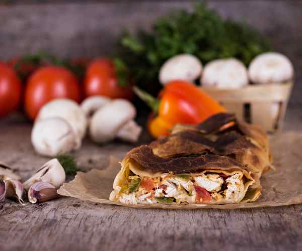 Photo of - Roasted Vegetable and Goat Cheese Strudel