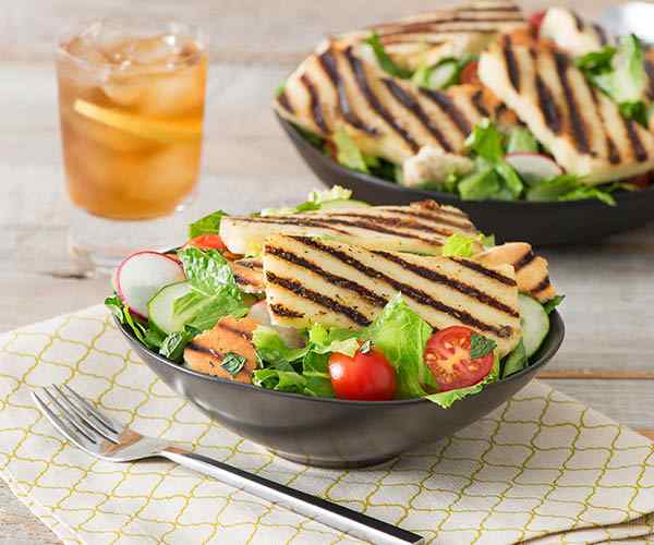 Photo of - Fattoush with Grilled Halloumi and Lemon Caper Dressing