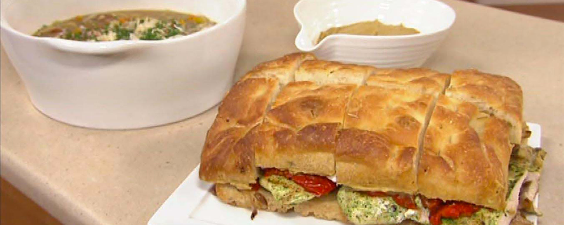 Photo for - Grilled Herb Marinated Chicken Focaccia Sandwich