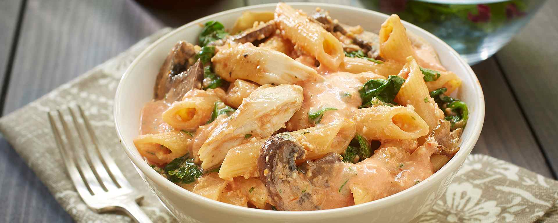 Photo for - Baked Chicken Penne Rosé with Spinach and Mushrooms