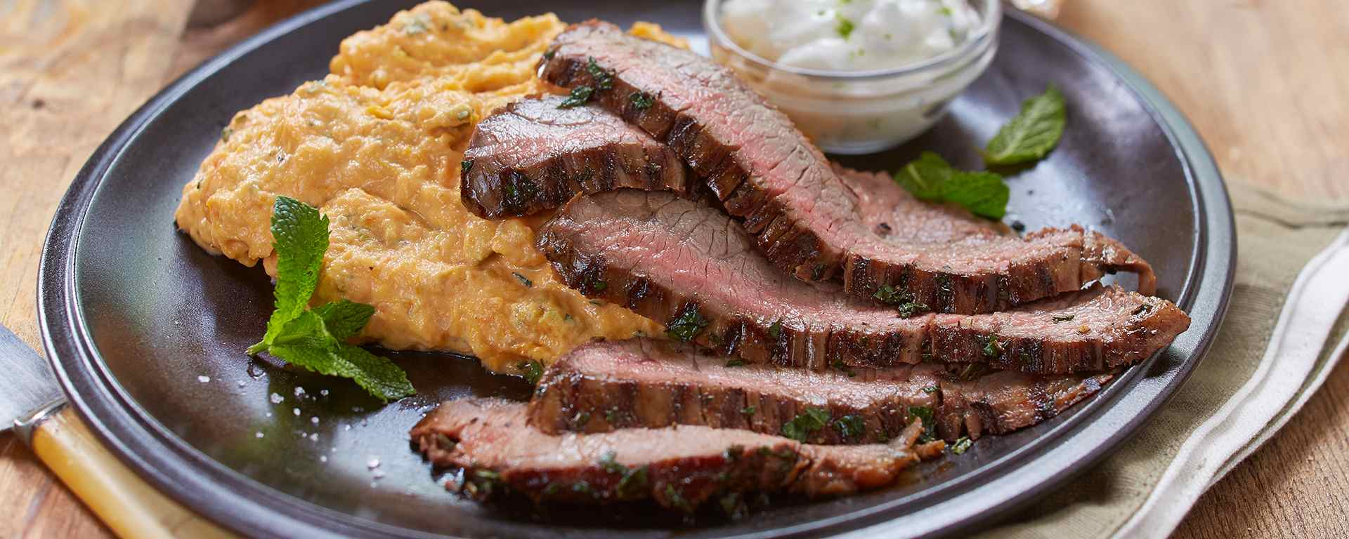 Photo for - Mojito Flank Steak with Sweet Potato Mash