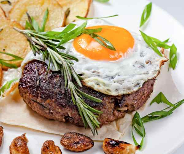 Photo of - Steak and Egg Open-Face Sandwich