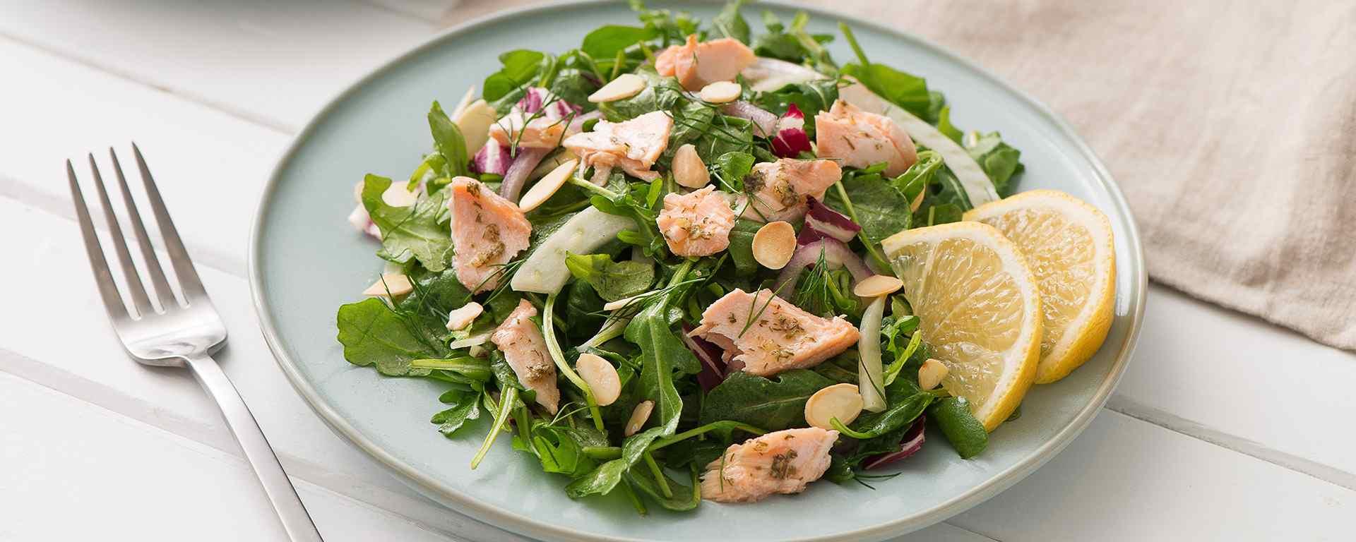 Photo for - Hot Salmon Salad with Lemon Dill and Citrus Vinaigrette