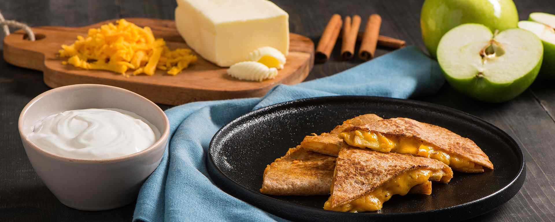 Photo of - Apple Cheddar Quesadilla with Creamy Cinnamon Cottage Cheese