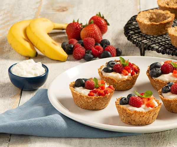 Photo of - Banana Berry Granola Cups with Coconut Cottage Cheese
