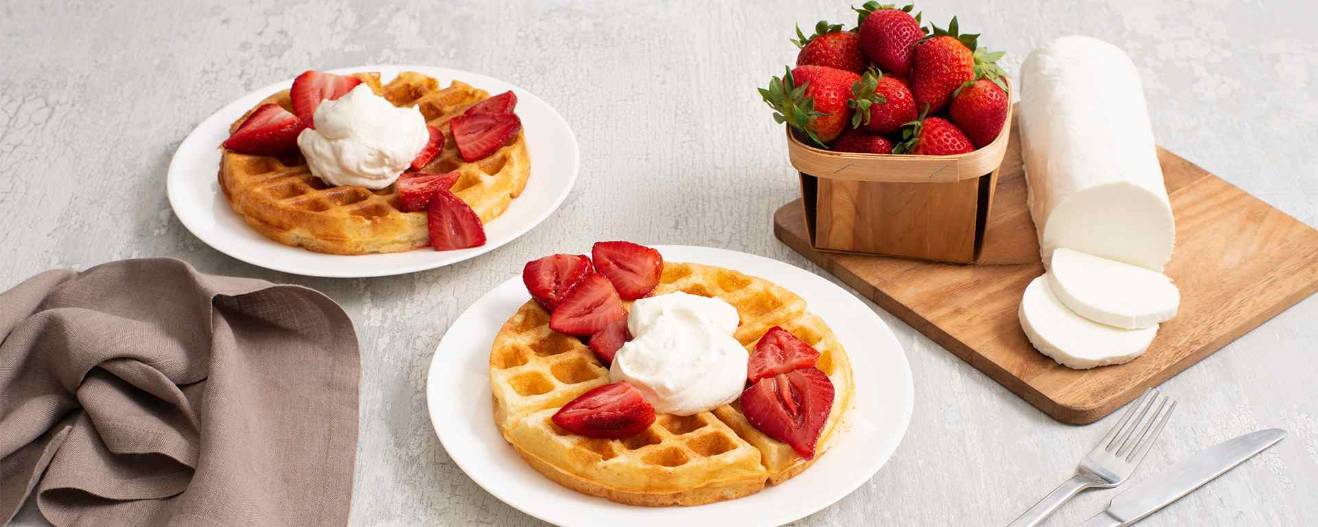 Photo for - Buttermilk Waffles with Balsamic Roasted Strawberries and Goat Cheese Whipped Cream