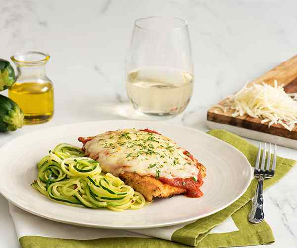 Photo of - Chicken Parmesan with Zucchini Aglio Olio