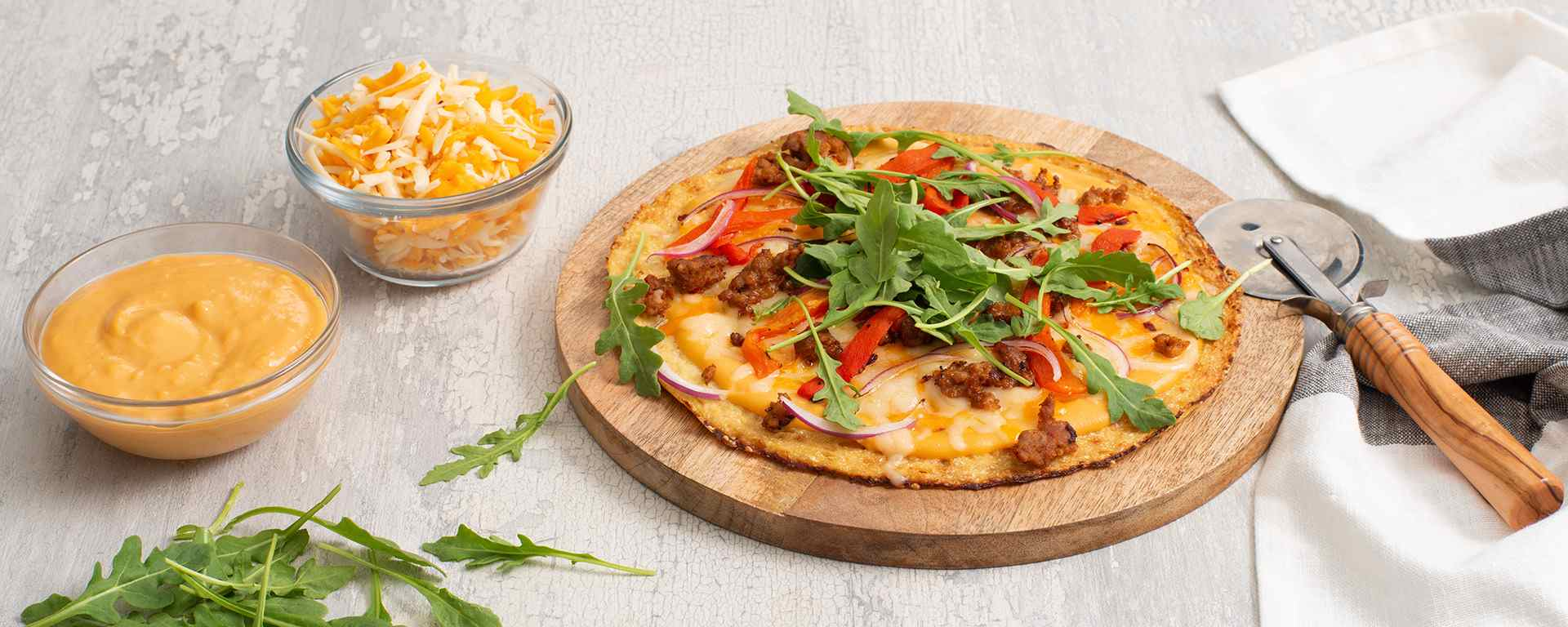 Photo for - Chorizo Cauliflower Pizza Con Queso