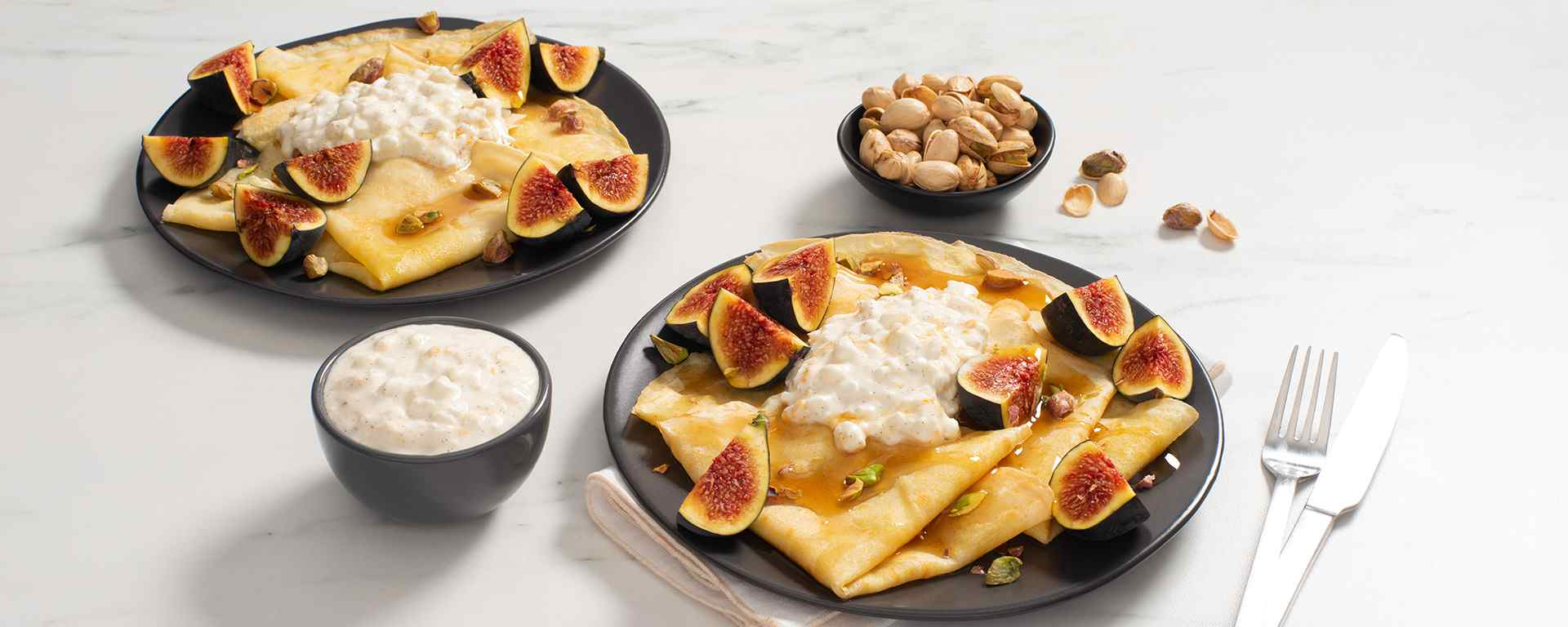 Photo for - Cornmeal Crepes with Cottage Cheese, Figs and Pistachios
