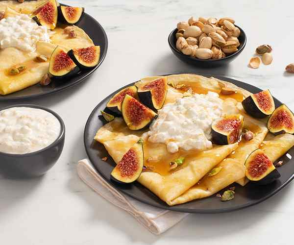 Photo of - Cornmeal Crepes with Cottage Cheese, Figs and Pistachios