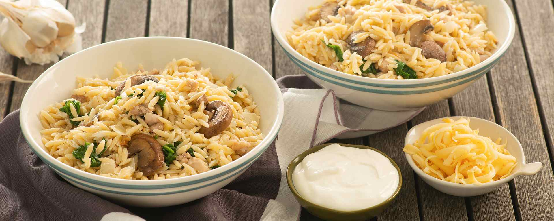 Photo for - Creamy Chicken, Spinach and Mushroom Orzo