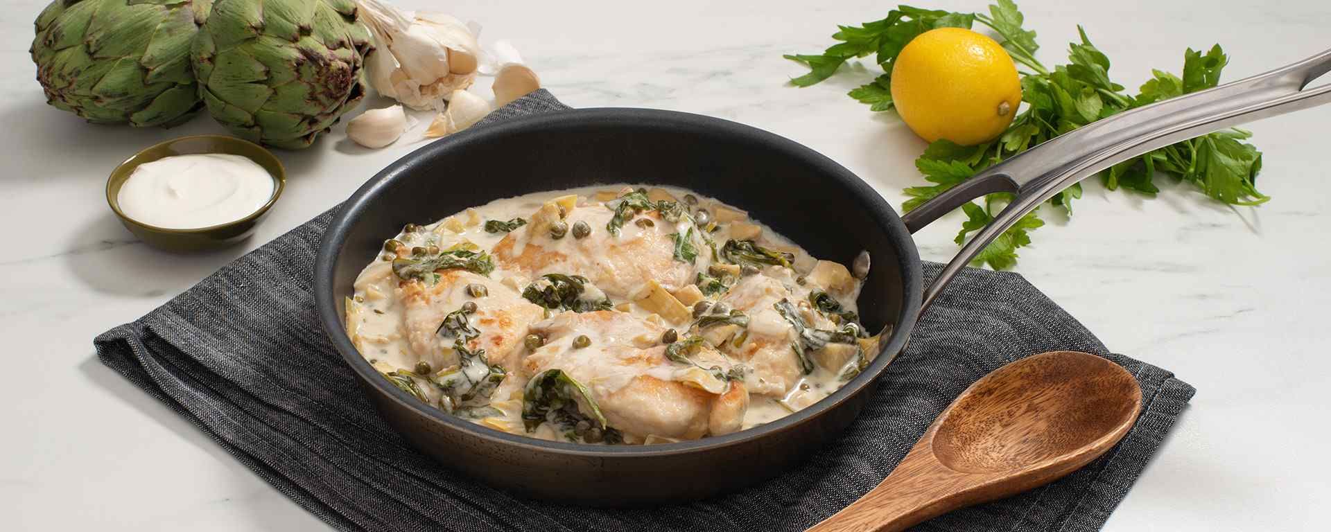 Photo for - Creamy Spinach and Artichoke Chicken Piccata