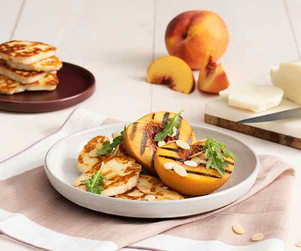 Photo of - Crispy Halloumi with Champagne Syrup and Grilled Peaches