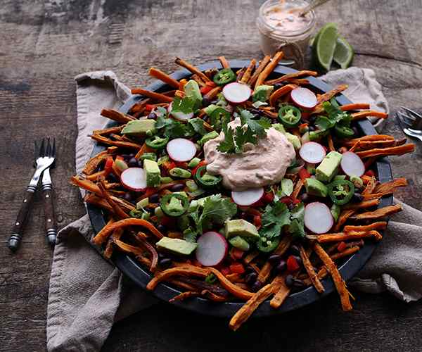 Photo of - Loaded Sweet Potato Fries with Roasted Red Pepper