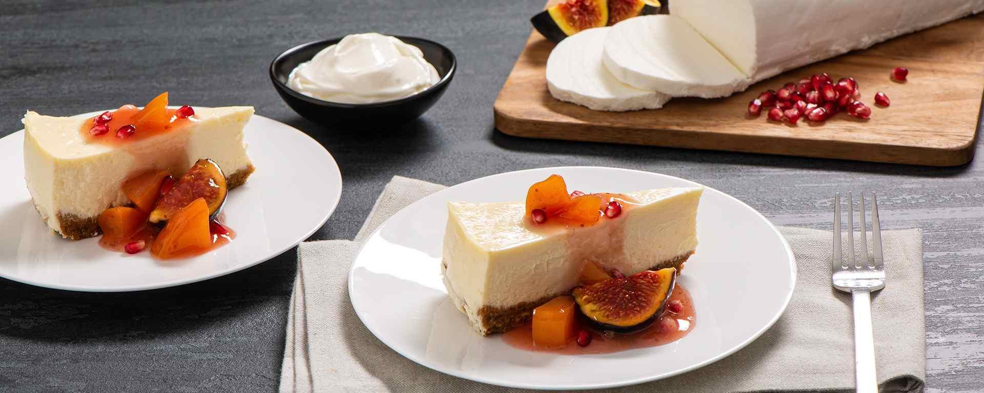 Photo for - Gâteau au fromage de chèvre avec croûte de pistache et fruits pochés