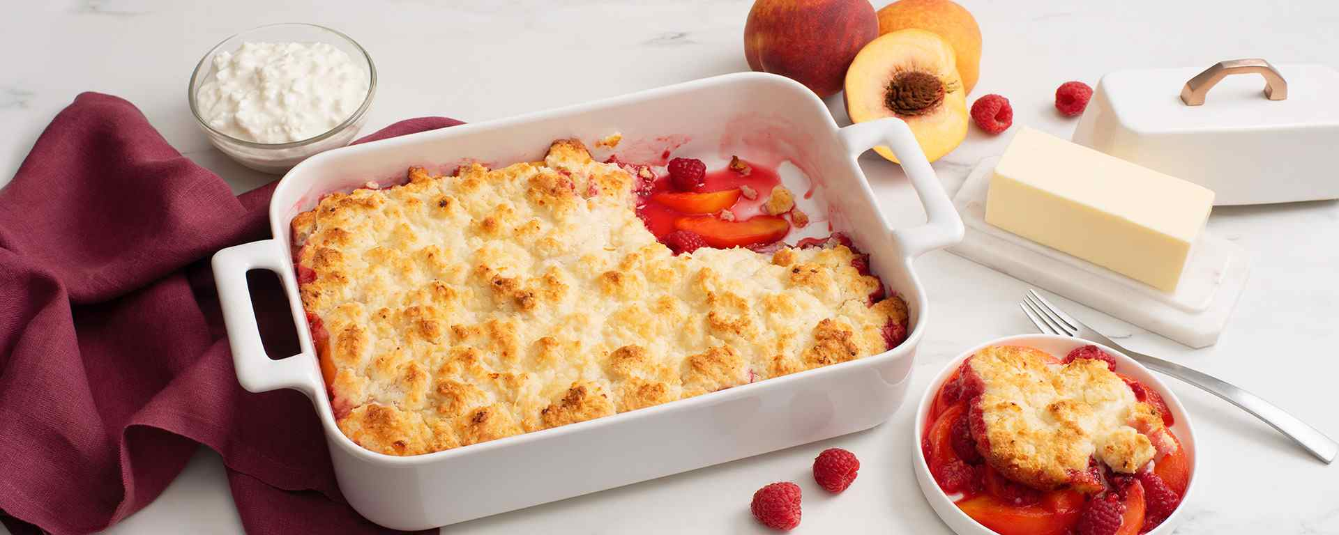 Photo for - Peach Raspberry Cottage Cheese Cobbler