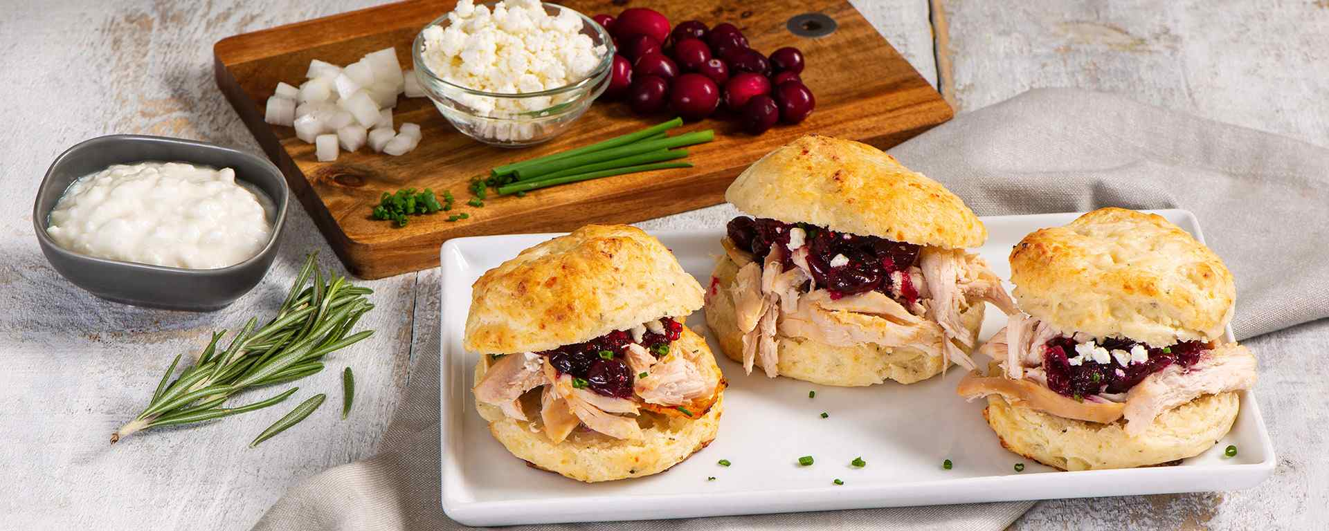 Photo for - Pulled Chicken Sliders on Rosemary Goat Cheese Scones