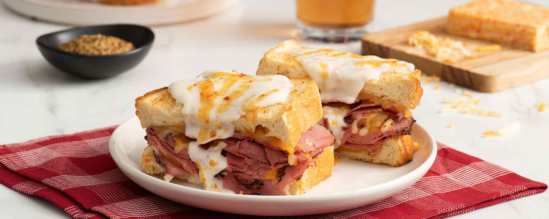 Photo of - Smoked Meat Croque-Monsieur with Spicy Cheese Sauce