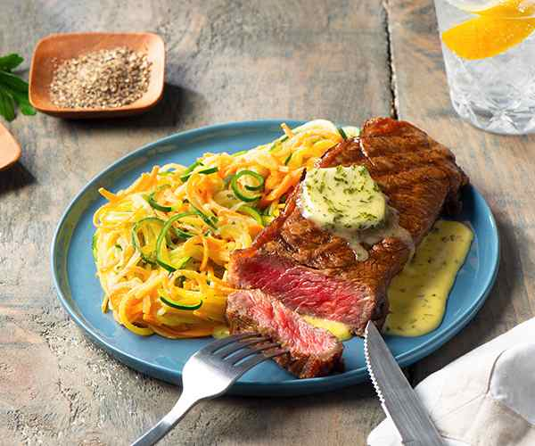 Photo of - Grilled NY Steak with Garlic Parsley Béarnaise Sauce