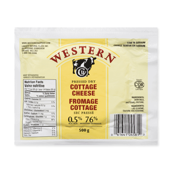 Photo of - Western Fromage Cottage Sec Pressé Faible Teneur En Sodium 0,5% MG
