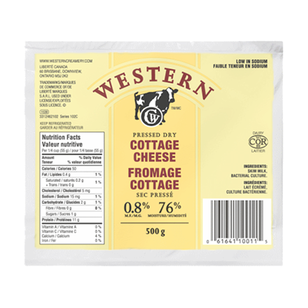 Photo of - Western Fromage Cottage Sec Pressé Faible Teneur En Sodium 0,8% MG