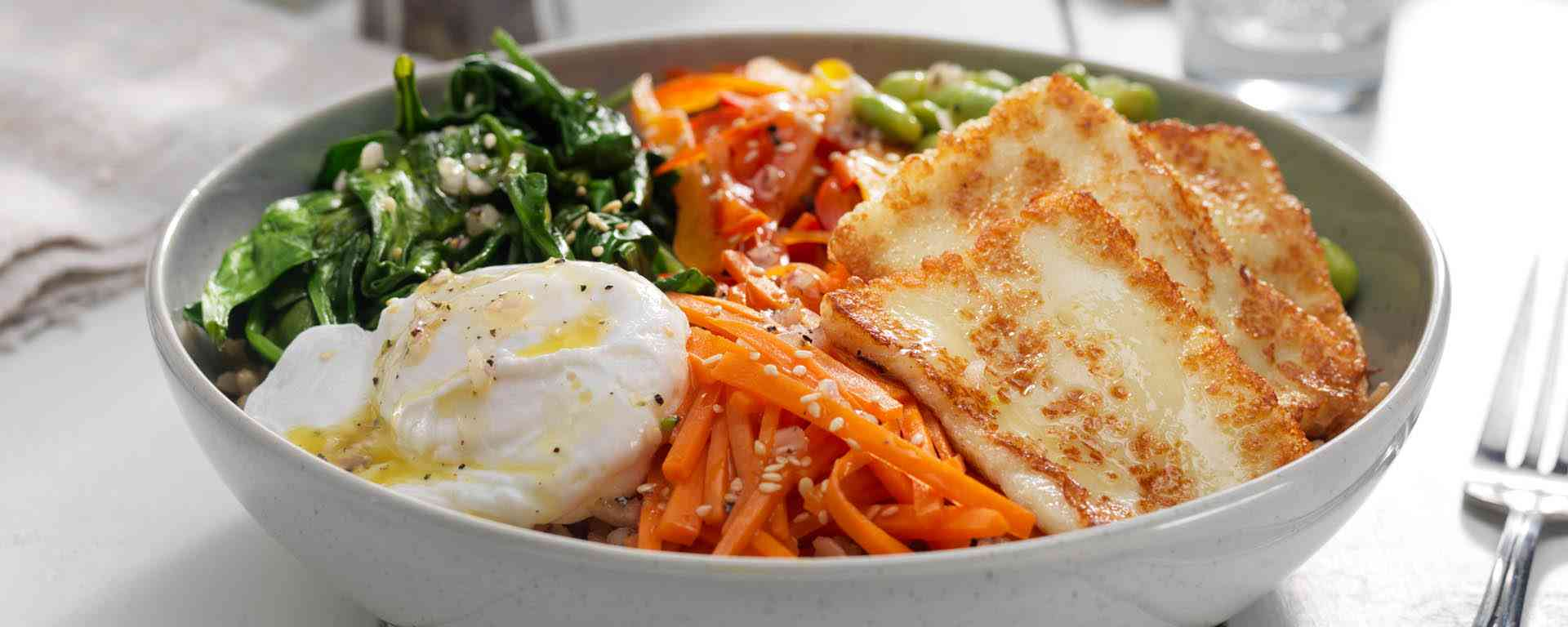Photo for - Health Bowl with Halloumi and Poached Egg