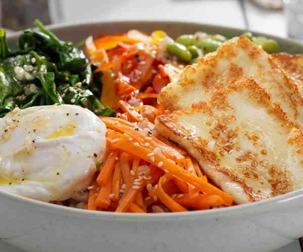 Photo of - Health Bowl with Halloumi and Poached Egg