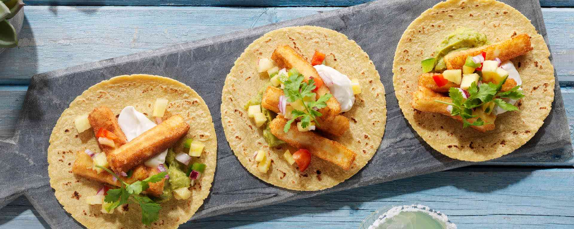 Photo for - Halloumi Taco Appetizer with Pineapple Salsa