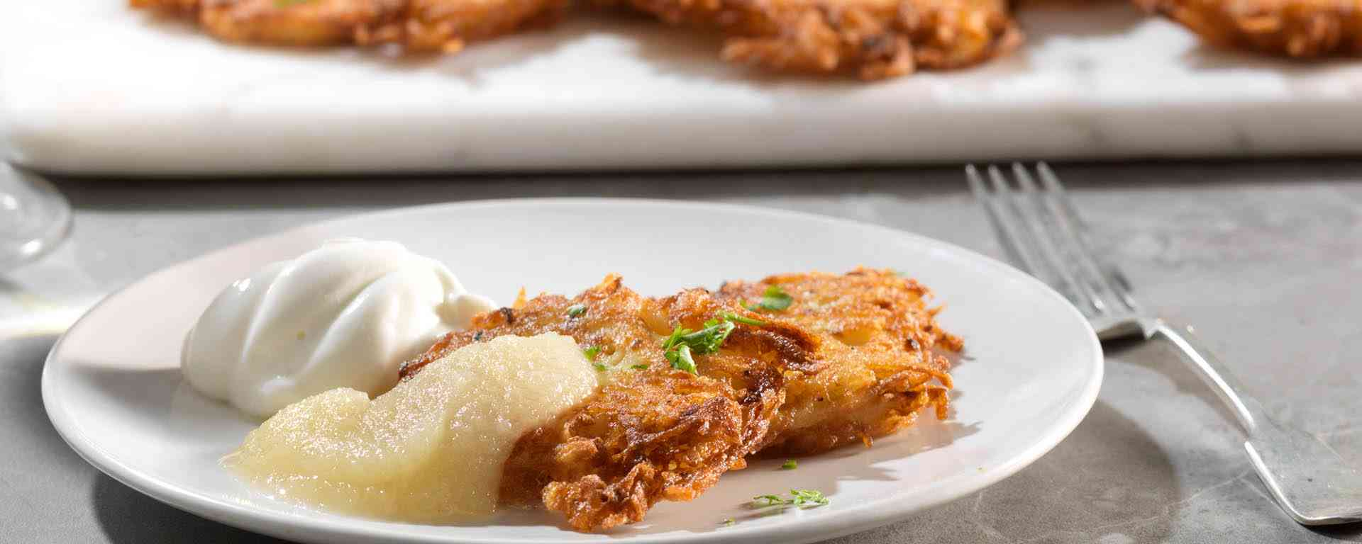 Photo for - Cheddar Latkes with Apple Sauce