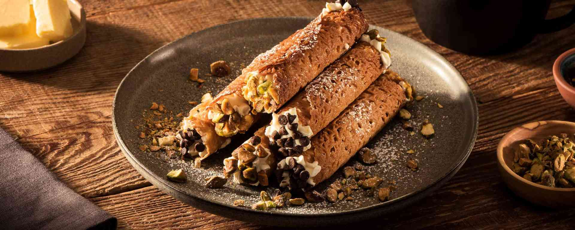 Photo for - Brandy Snap Cannoli with Ricotta Filling