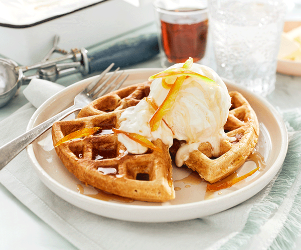 Photo of - Ginger Cardamom Waffles with Honey Ice Cream and Candied Orange Peel