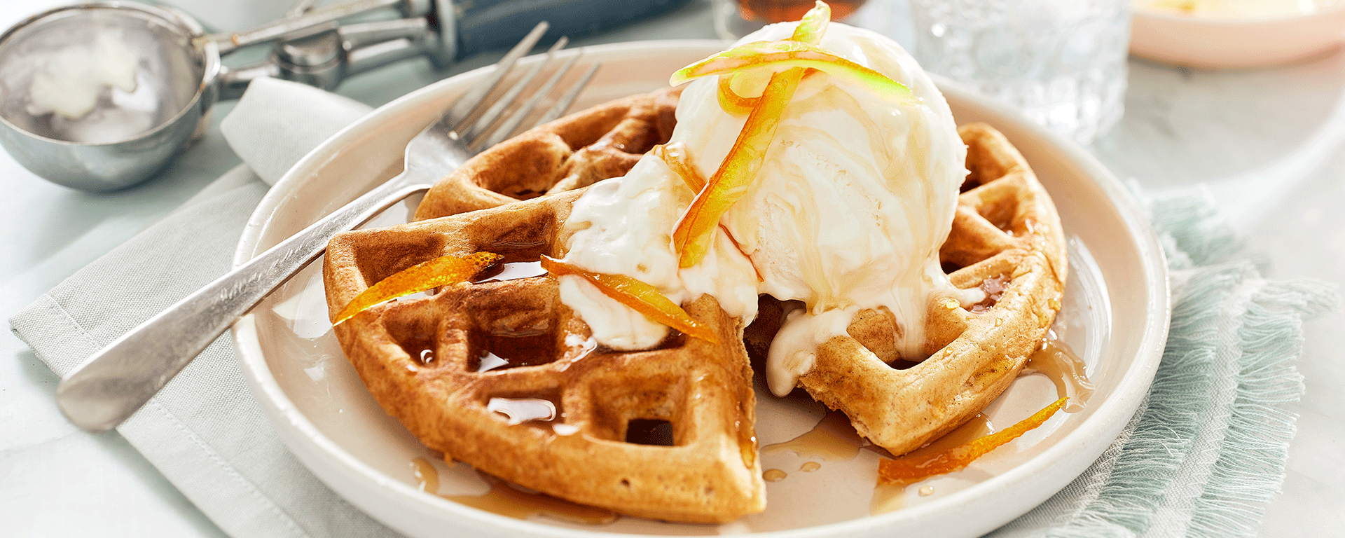 Photo for - Ginger Cardamom Waffles with Honey Ice Cream and Candied Orange Peel