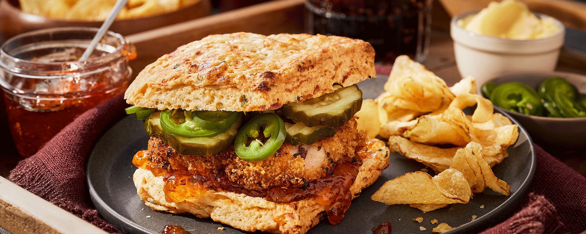 Photo for - Crispy Chicken & Spicy Biscuit Sliders